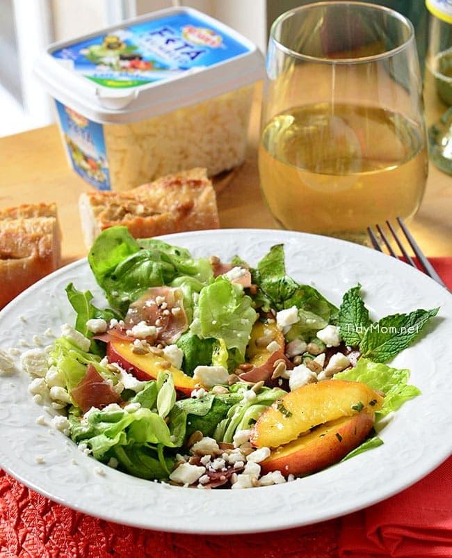 Feta, Peach & Prosciutto Salad  Recipe at TidyMom.net
