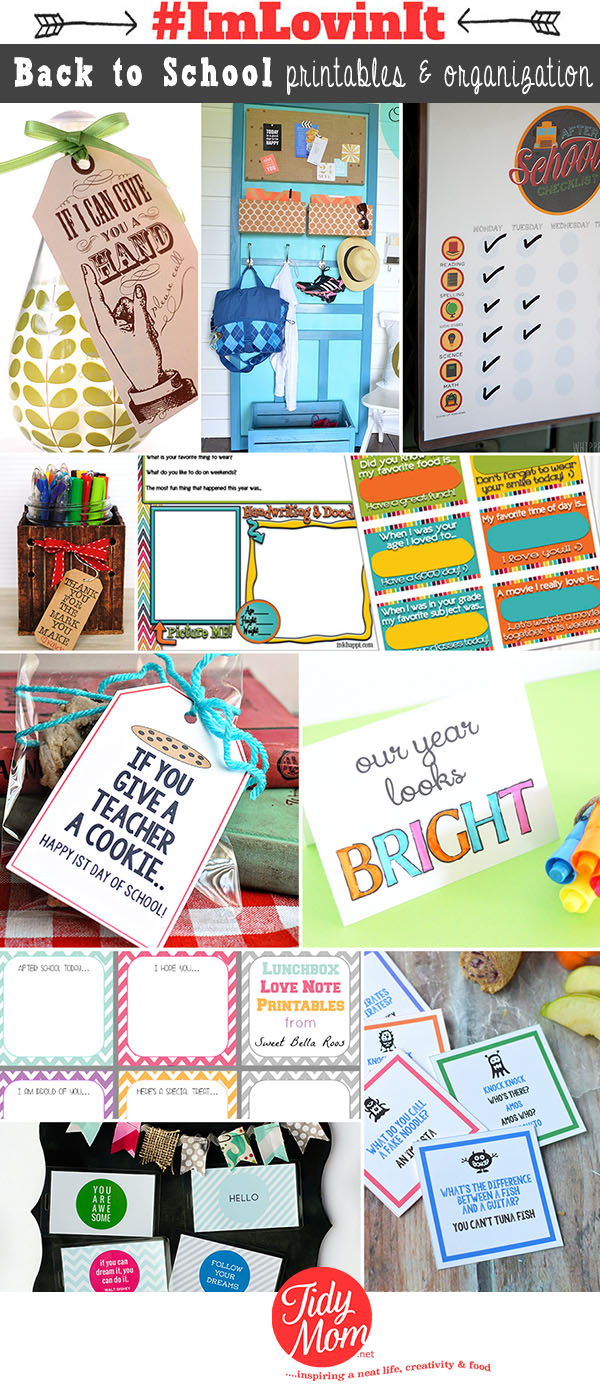 10 Back to School free printables and organization ideas at TidyMom.net