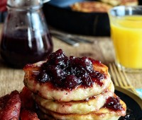 Fluffy Turkey Bacon Pancakes with Cranberry Maple Syrup recipe at TidyMom.net