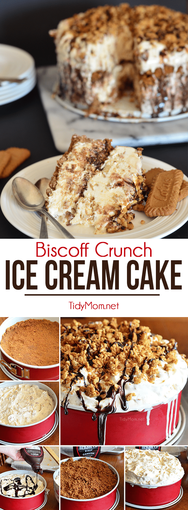 This easy ice cream cake is made with Biscoff cookies, vanilla ice cream, Biscoff Spread, and rice cereal.  BISCOFF ICE CREAM CRUNCH CAKE recipe at TidyMom.net