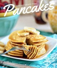 Diety-friendly Oatmeal Banana Bread Pancakes - just 3 ingredients! recipe at TidyMom.net