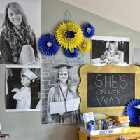 createa GIANT PHOTO WALL...really cheap at TidyMom.net GREAT for birthday parties, graduation, showers or any celebration!