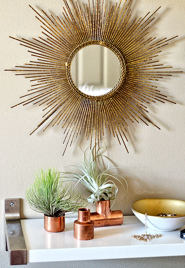 Use copper plumbling supplies to display air plants at TidyMom.net