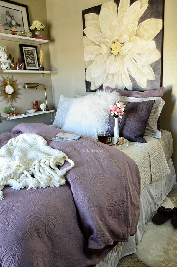 Guest Room Makeover | Amethyst West Elm bedding with Ikea Ekby Shelves at TidyMom.net