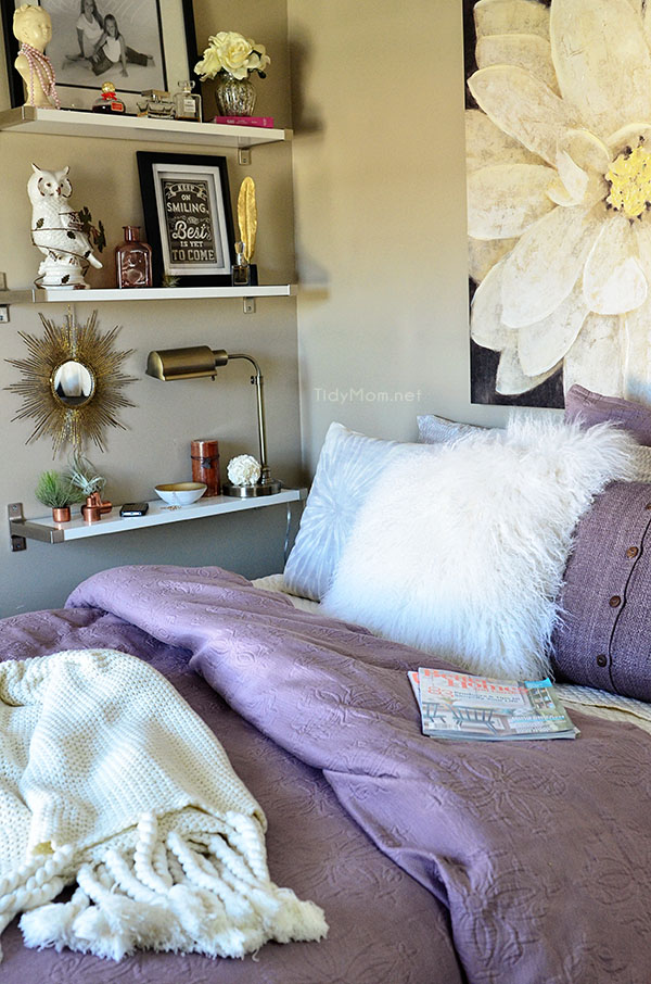 Amethyst & Grey Guest Bedroom with Ikea Ekby Shelves at TidyMom.net