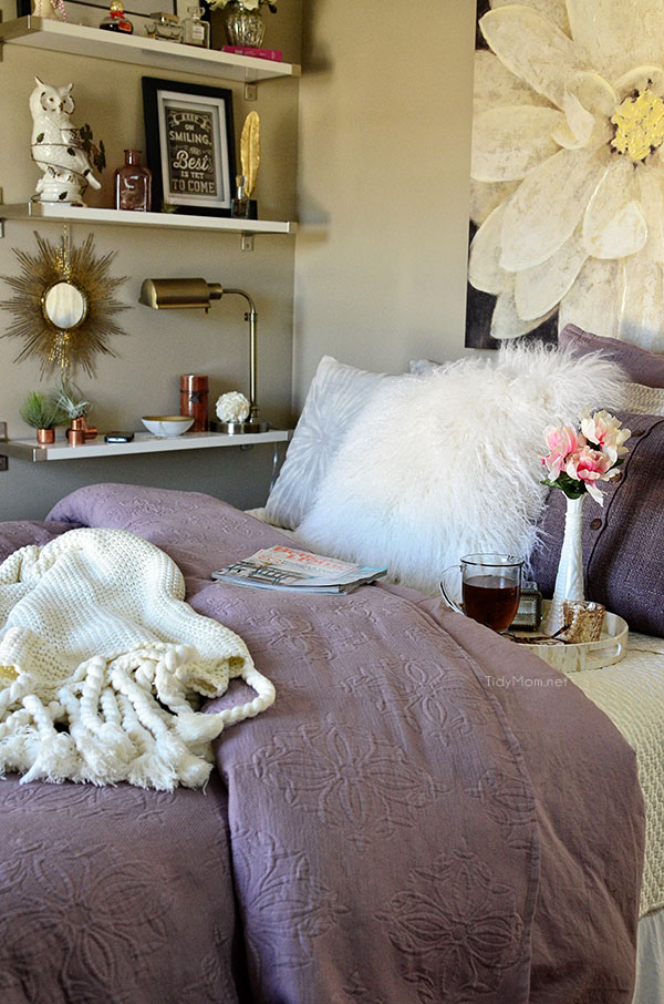 Amethyst Matelasse West Elm bedding at TidyMom.net