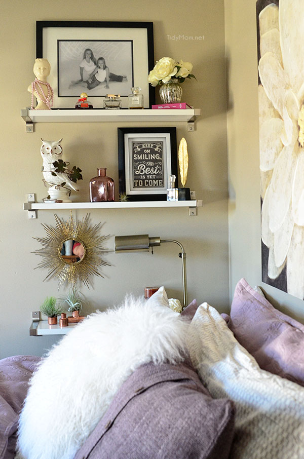 Amethyst & Grey Guest Room with Ikea Ekby Shelves at TidyMom.net