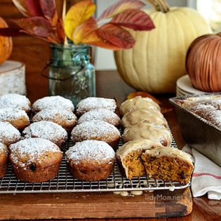 Fragrant with cinnamon, chopped nuts and raisins, this pumpkin bread and muffin recipe is a classic. get the recipe at TidyMom.net