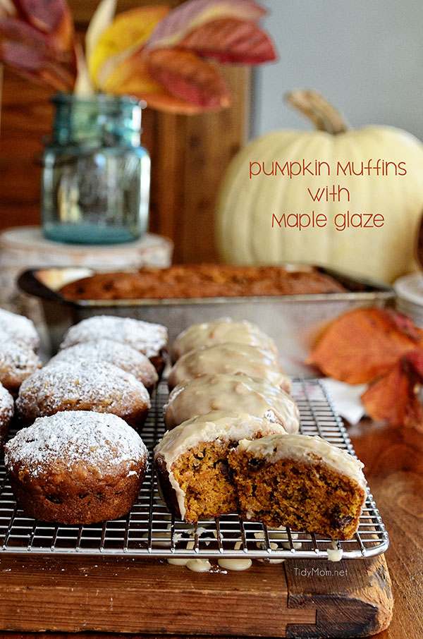 Pumpkin Muffins with Maple Glaze are the epitomy of fall.  recipe at TidyMom.net