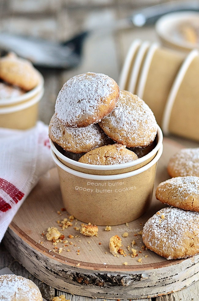 Fluffy and dreamyGooey Butter Peanut Butter Cookies - recipe at TidyMom.net