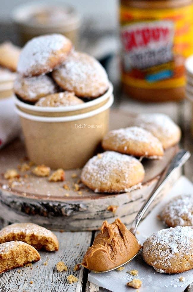 Soft  Gooey Butter  Peanut Butter Cookies - recipe at TidyMom.net