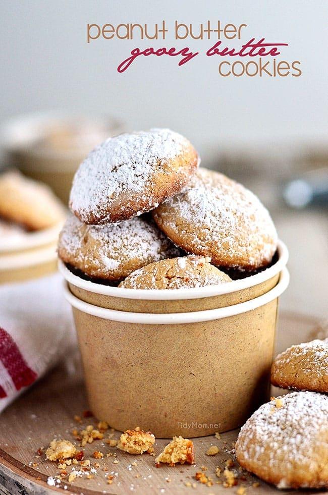 Easy Peanut Butter Gooey Butter Cookies - recipe at TidyMom.net