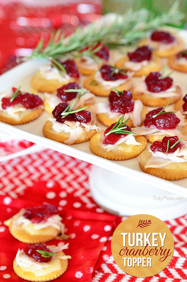 Transform holiday leftovers into a show stopping delicious appetizer. Turkey Cranberry Toppers recipe at TidyMom.net