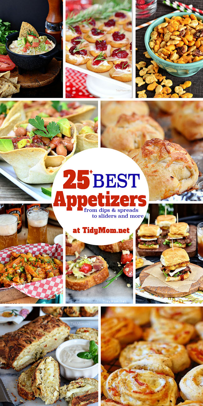 Get Party Ready with 25+ Best Party Appetizers! Recipe for dips, spreads, finger foods and more at TidyMom.net