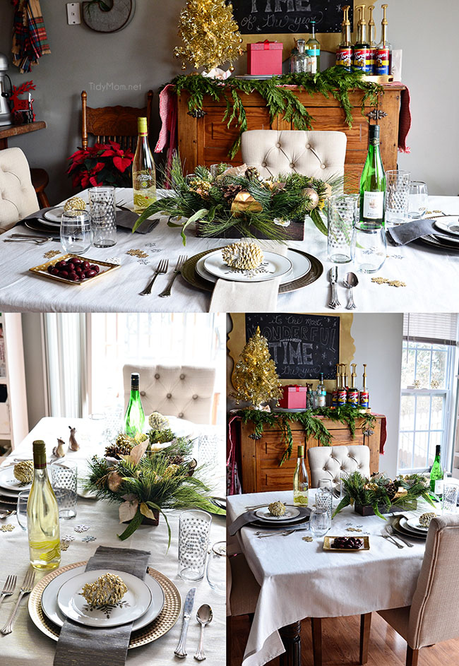 Holiday tablescape at TidyMom.net