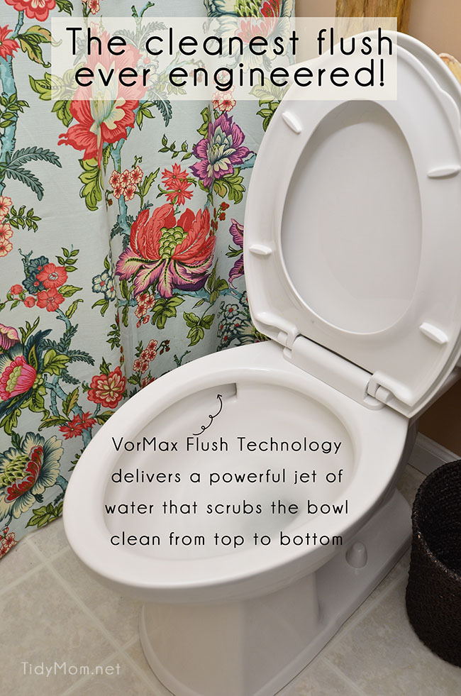 Squeaky Clean Bathroom with a high-tech toilet that practically cleans itself at TidyMom.net