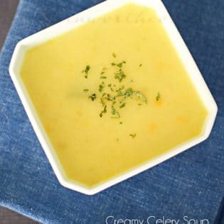 A favorite dairy free recipe for Creamy Celery Soup from Kleinworth & Co for Tidymom.net