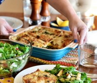 Kale & Butternut Squash Lasagna with Arugula, Pear & Hazelnut Salad and lemon dressing - Fresh ingredients delivered with recipe from Blue Apron. Details at TidyMom.net