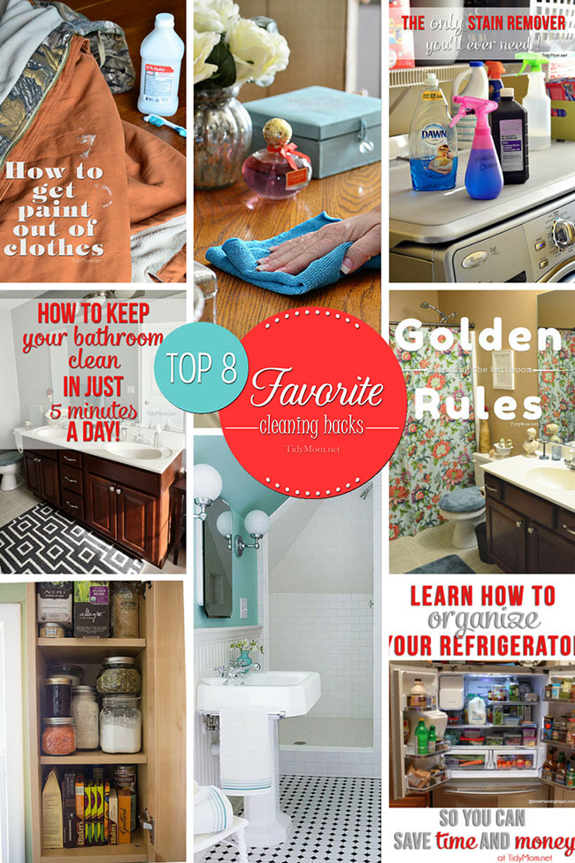 8 Best Cleaning Hacks, tips and tricks you should be doing.....at TidyMom.net