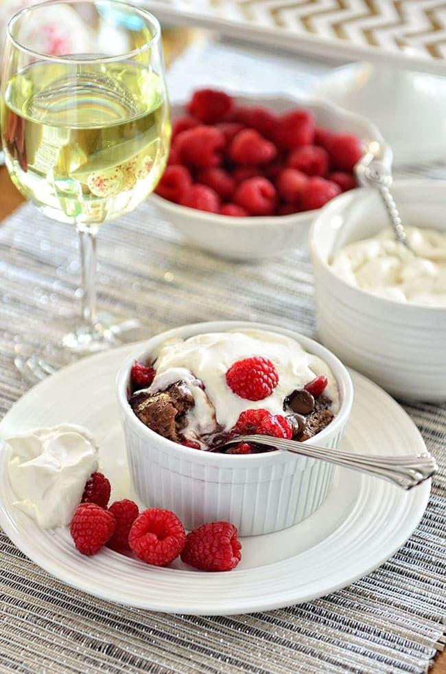 Chocolate Bread Pudding with Raspberry Sauce   TidyMom