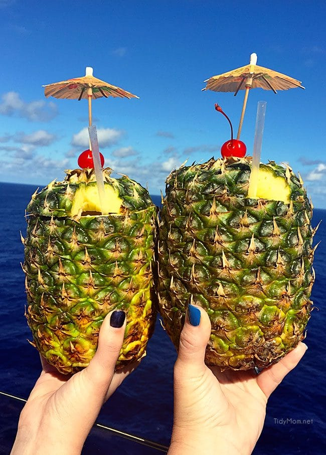 Pina Coladas in a fresh pineapple on board the cruise ship image