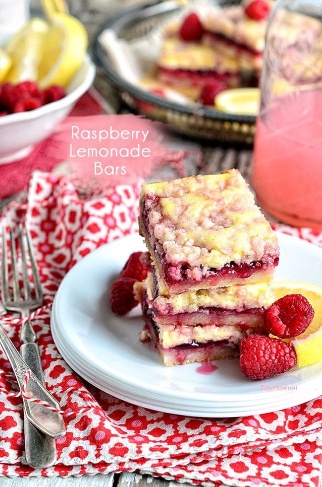 Raspberry Lemonade Bars recipe at TidyMom.net