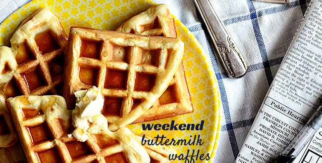Our Favorite Weekend Buttermilk Waffles recipe at TidyMom.net