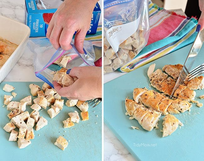 cook and chop chicken and freeze in ziploc bag