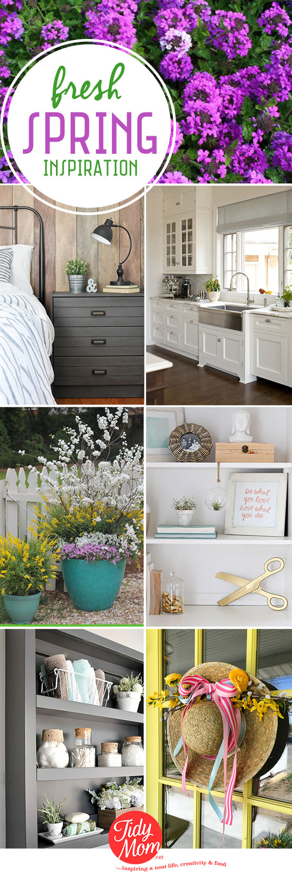 Fresh Spring Inspiration for your home. From the garden and front door, to bathrooms and kitchens, be inspired by these fresh ideas at TidyMom.net