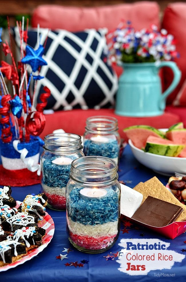 Easy Ten Minute Idea: Patriotic Colored Rice Jar Candle centerpiece at TidyMom.net