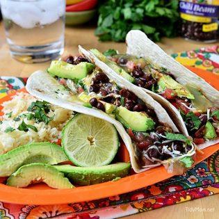 Avocado Tacos with Black Beans recipe at TidyMom.net