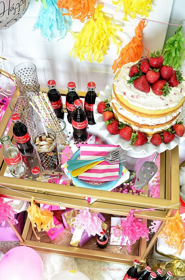 Birthday Cart with a  Strawberries and Cream Naked Cake recipe at TidyMom.net