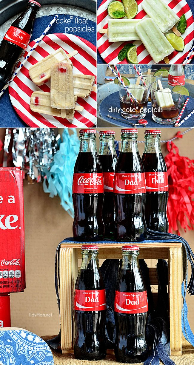 Coke Float Popsicles two ways: Traditional Coke Float popsicle with Coke, vanilla ice cream and a cherry. Dirty Coke Poptails, coconut and lime popsicle served in a glass with ice cold coke . #ShareaCoke at TidyMom.net