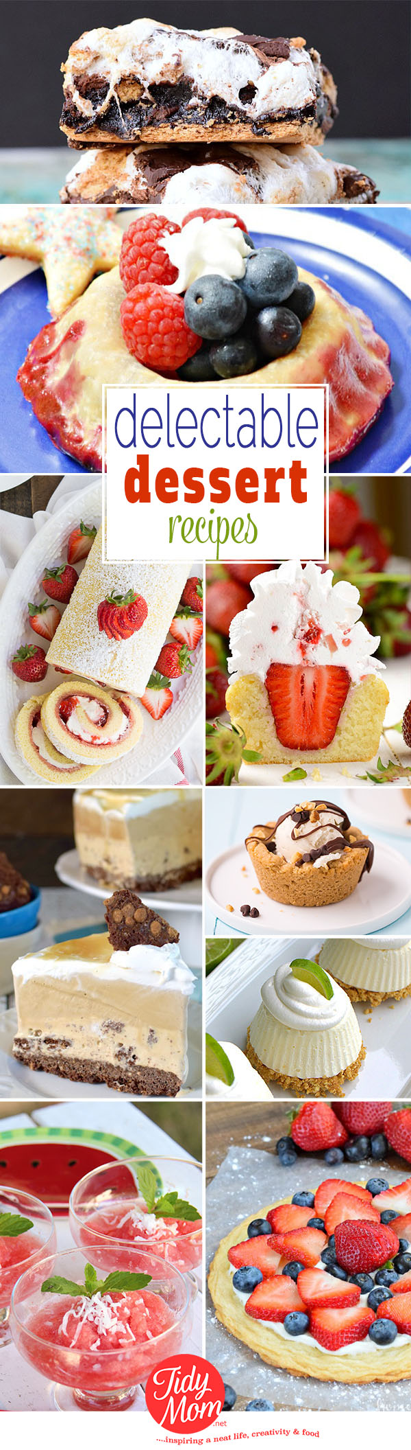 From juicy summer berries and ice cream pie to S'mores brownies, you'll want to end your next meal with one of these Delectable Dessert recipes at TidyMom.net