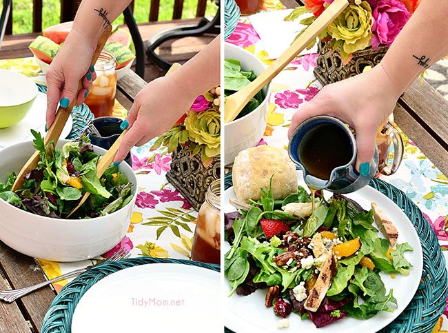 O'Charleys Copycat Pecan Chicken Tender Salad recipe at TidyMom.net