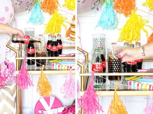 Custom Coca-Cola bottles make a birthday celebration special!  #ShareaCoke with a Birthday Cart at TidyMom.net