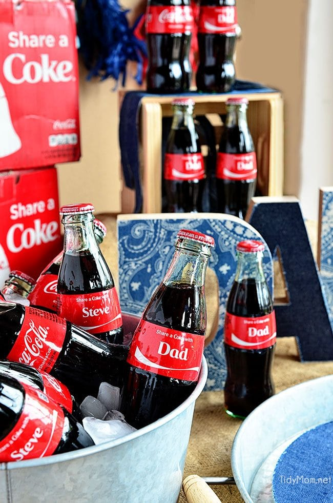 Share a Coke with Dad! Perfect for Father's Day, birthday or any day! details at TidyMom.net