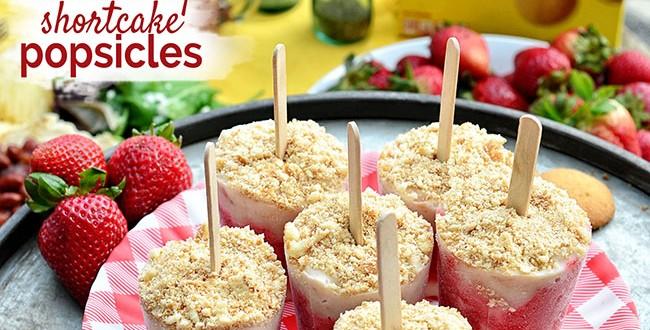 Strawberry Shortcake Yogurt Popsicles recipe at TidyMom.net