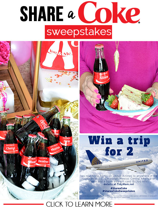 WIN a trip for 2 + $500 visa card from Coca-Cola and United Airlines. Learn more at TidyMom.net