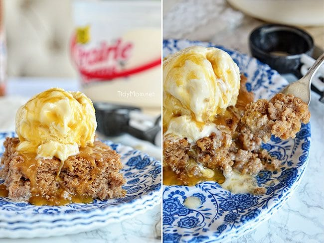Cinnamon Roll Poke Cake is dangerously easy and tastes just like the gooey center of a cinnamon roll!  cake mix  recipe at TidyMom.net