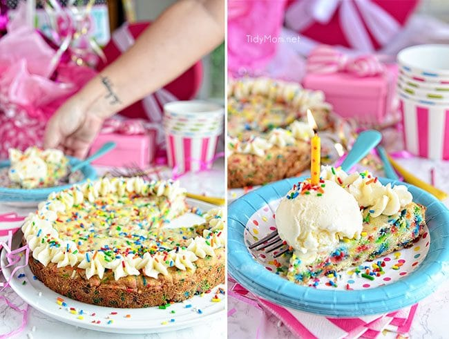 Do you like sprinkles in your birthday cake? This BIRTHDAY SUGAR COOKIE CAKE full of sprinkles! Funfetti lovers are going to flip for this homemade cookie cake. recipe at TidyMom.net
