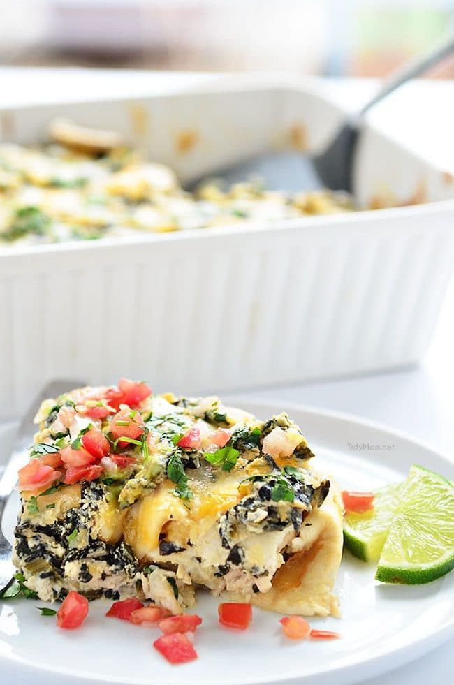 Chicken and Spinach Enchiladas, super easy and a family favorite! recipe at TidyMom.net