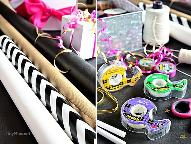 Gift Wrap ideas with Scotch Brand Wrapping Tape and TidyMom.net