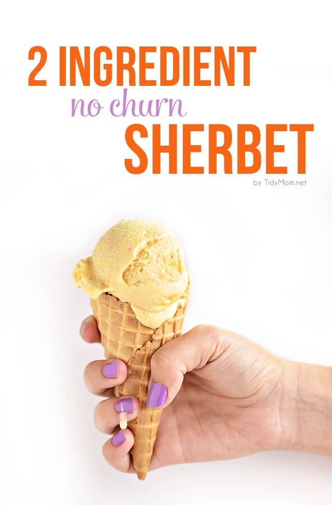 This frozen treat is so easy to make, no churning, no machine and if you like soft serve, it's ready to eat in 2 minutes! 2 Ingredient Peach Sherbet recipe at TidyMom.net Make other varieties by using your favorite fruits!