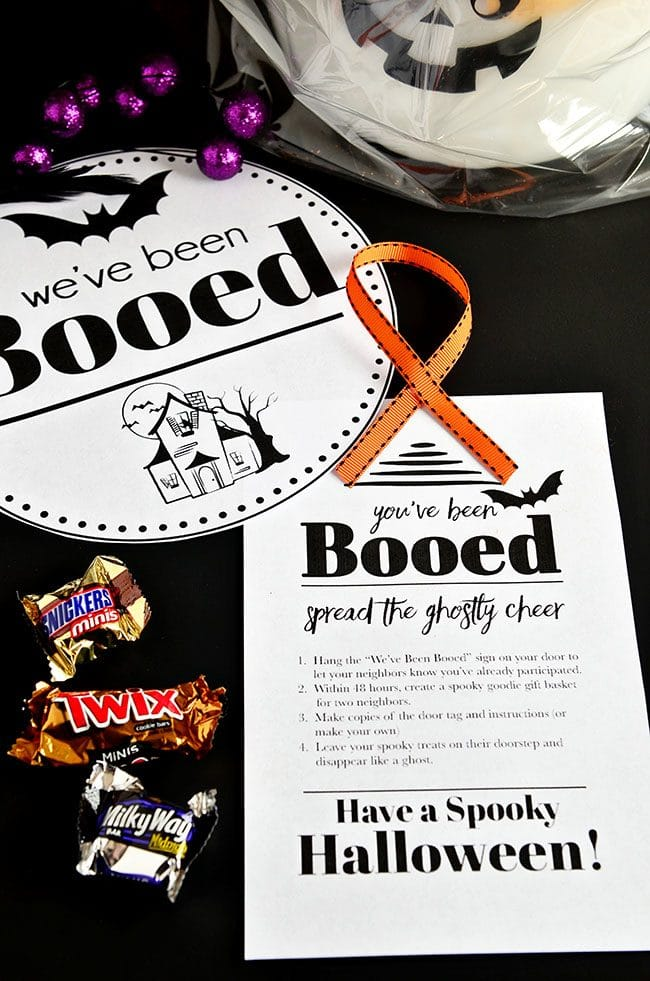 Boo Your Neighbors! You've Been Booed free printables for Halloween Boo Basket at TidyMom.net