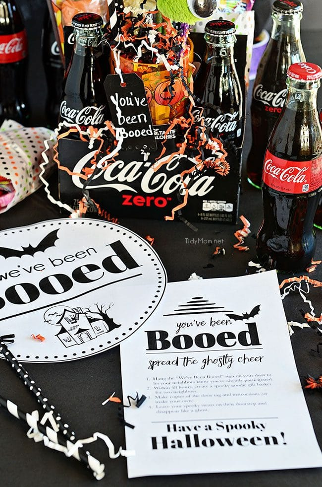 Coca-Cola Halloween Boo Basket with free You've been Booed printable at TidyMom.net