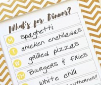 DIY Dry Erase Menu Board with free What's for Dinner Menu printable. Simple write your dinner plan on the glass each week using a dry erase marker. Download free printable at Tidymom.net