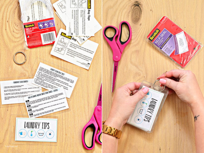 Laundry Tips and Cheat Sheets using Scotch Self-Seal Laminating pouches. Free printable at TidyMom.net