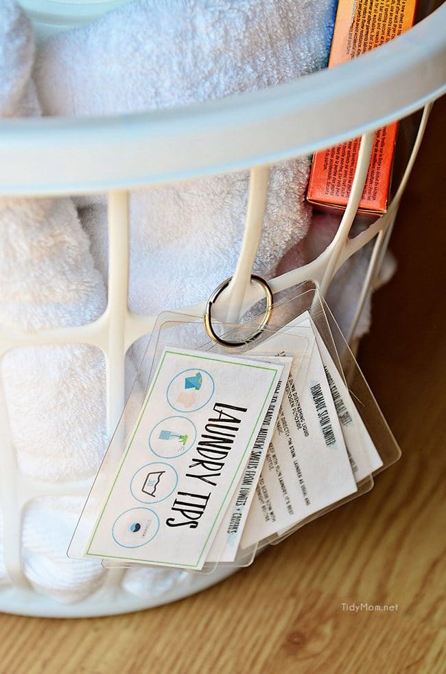 Keep these handy laminated laundry tips at your fingertips. Download and print for free, keep on a ring to hang on basket or on a hook in laundry room. Use Scotch Self-Seal Laminating pouches and Free Printable Laundry Tips at TidyMom.net