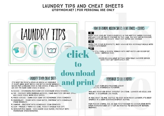 visit TidyMom.net to get the FREE download version of these Laundry Tips + cheat sheets.